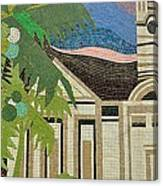 Mosaic Of Church With Palm Tree Canvas Print