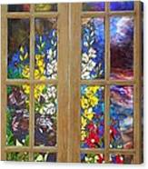Mosaic Stained Glass - Flower Garden Canvas Print