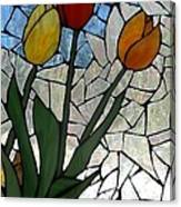 Mosaic Stained Glass - Spring Shower Canvas Print
