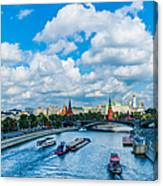 Moscow Kremlin And Busy River Traffic Canvas Print