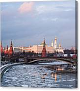 Moscow Kremlin In Winter Evening - Featured 3 Canvas Print