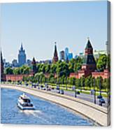 Moscow River And Kremlin Embankment In Summer - Featured 3 Canvas Print