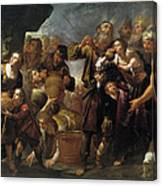 Moses And The Water From The Stone Canvas Print
