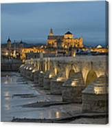 Mosque Cathedral Of Cordoba Also Called The Mezquita And Roman Bridge Canvas Print