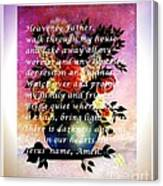 Most Powerful Prayer With Flowers In A Vase Canvas Print