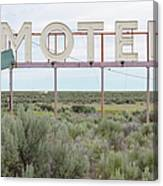 Motel Sign In Field Of Sage Brush, Out Canvas Print