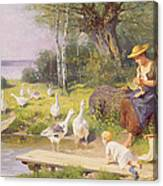 Mother And Child With Geese Canvas Print
