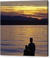 Mother And Daughter Holding Each Other Along Edmonds Beach At Su Canvas Print