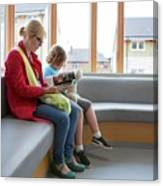 Mother And Son In Waiting Room Canvas Print