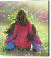 Mother And Twin Girls In Garden Canvas Print