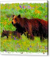 Mother Bear And Cub In Meadow Canvas Print