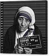 Mother Teresa Mug Shot Canvas Print