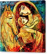 Mother With Child On Horse Canvas Print