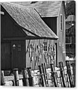 Motif Number One Bw Black And White Rockport Lobster Shack Maritime Canvas Print