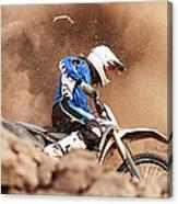 Motocross Biker Taking A Turn In The Canvas Print