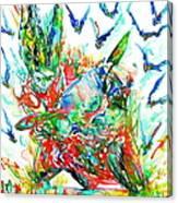 Motor Demon With Bats Canvas Print