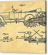 Motor Driven Sleigh Support Patent Drawing From 1915 1 Canvas Print