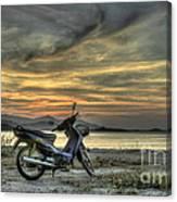 Motorbike At Sunset Canvas Print