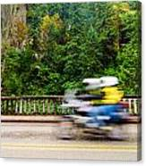 Motorcycle And Green Forest Canvas Print