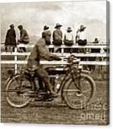 Motorcycle At Salinas California Rodeo Grounds Circa 1910 Canvas Print