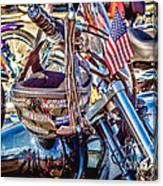Motorcycle Helmet And Flag Canvas Print
