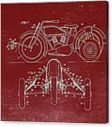 Motorcycle Support Patent Drawing From 1932 3 Canvas Print