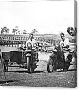 Motorcycles Set Golf Record Canvas Print