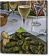 Moules And Chardonnay Canvas Print