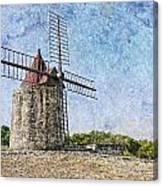 Moulin De Daudet Fontvieille France On A Texture Dsc01833 Canvas Print