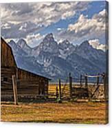 Moulton Barn Panorama - Grand Teton National Park Wyoming Canvas Print