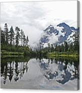 Mount Baker- Lake- Fir Trees And  Fog Canvas Print