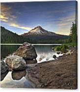 Mount Hood At Trillium Lake Sunset Canvas Print