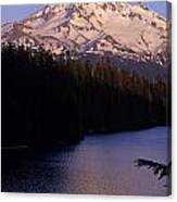 Mount Hood With Kids In Row Boat Silhouetted Canvas Print