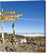 Mount Kilimanjaro Summit Sign In 5.895 Meters With Northern Ice Fields Beyond  Canvas Print