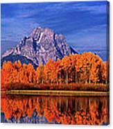 Mount Moran And Fall Color Grand Tetons Canvas Print