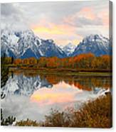 Mount Moran Reflection Sunset Canvas Print