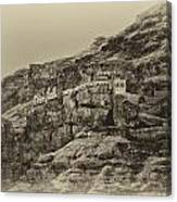 Mount Of The Temptation Monestary Jericho Israel Antiqued Canvas Print