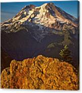 Mount Rainier At Sunset With Big Boulders In Foreground Canvas Print