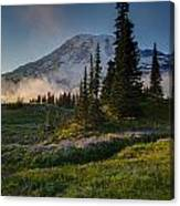Mount Rainier Evening Fog Canvas Print