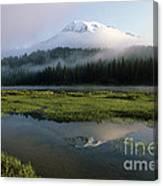 Mount Rainier Shrouded In Fog Canvas Print