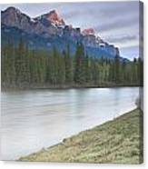 Mount Rundle And The Bow River At Sunrise Canvas Print