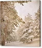 Mountain Adventure In The Snow Canvas Print