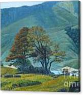 Mountain Behind Fields Canvas Print