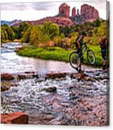 Mountain Bikers Crossing Cathedral Falls Canvas Print