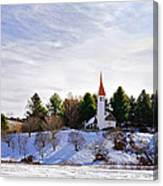 Mountain Church In Winter Canvas Print