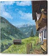 Mountain Farm In Austria Canvas Print