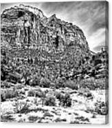 Mountain In Winter - Bw Canvas Print