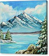 Mountain Lake In Winter Original Painting Forsale Canvas Print