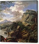 Mountain Landscape With Figures Canvas Print