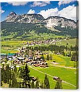 Mountain Landscape With Village In The Allgaeu Alps Austria Canvas Print